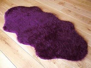 Jaguar animal print faux fur sheepskin double rug 70 x 140 cm from Rugs Supermarket