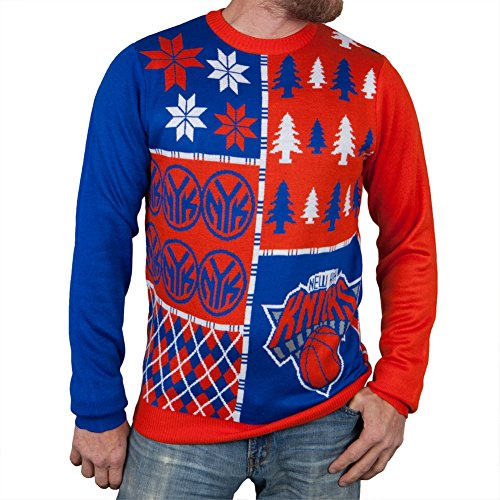 Nba New York Knicks Busy Block Ugly Sweater, X-Large, Blue