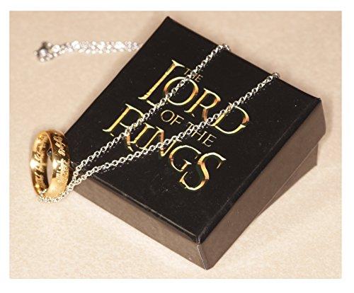 Xing - Anello, replica Signore degli Anelli / Hobbit, placcato oro, con sacchettino e scatola regalo.