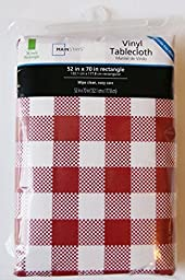 Vinyl Flannel Backed Indoor Outdoor Tablecloth - Red Gingham - Rectangular - 52\