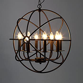 "Industrial Vintage Retro Pendant Light - LITFAD 21"" Edison Metal Globe Shade Hanging Ceiling Light Chandelier Pendant Lamp Lighting Fixture Black Finish with 8 Lights"