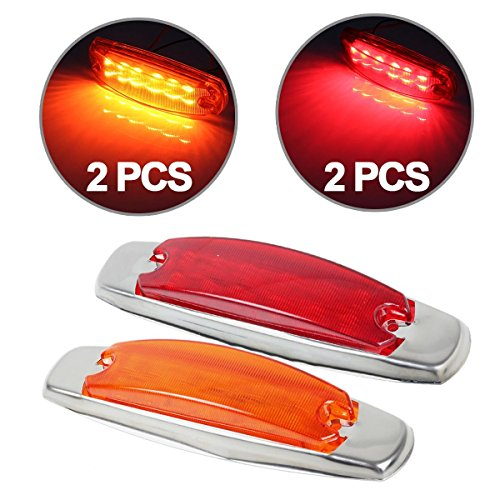 Partsam 4x For Peterbilt & Kenworth Truck Trailer Marker Lights Universal 12 Diodes Amber / Red (Rims For Gmc Sierra 1500 compare prices)
