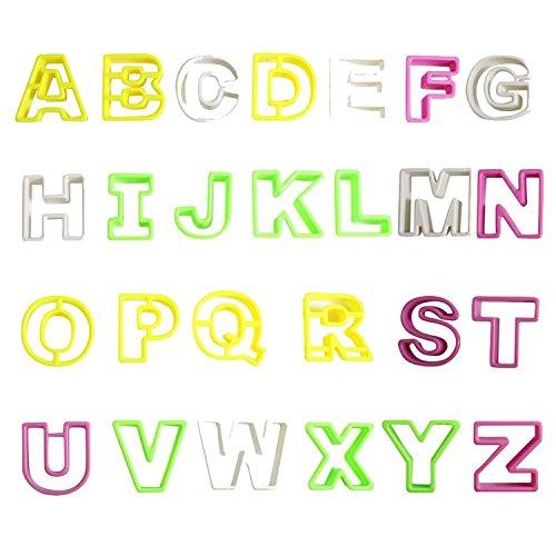 NALATI 26 Pcs Anglais Lettres Alphabet Cutter Set, Fondant silicone chocolat glace Moule à outils