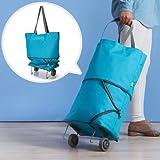 Zuwit Folding Shopping Bag with Wheels,two Way Shopping Trolley/travel Handbag (Blue)