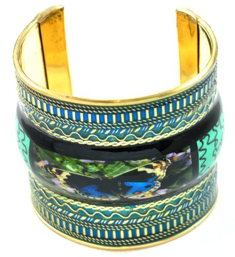 Gorgeous Butterfly Painting Laminated Gold Fashion Bangle Cuff