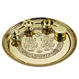 Traditional Pure Brass Puja Pooja Archana Thali Plate, For Diwali Dia - 9 Inch