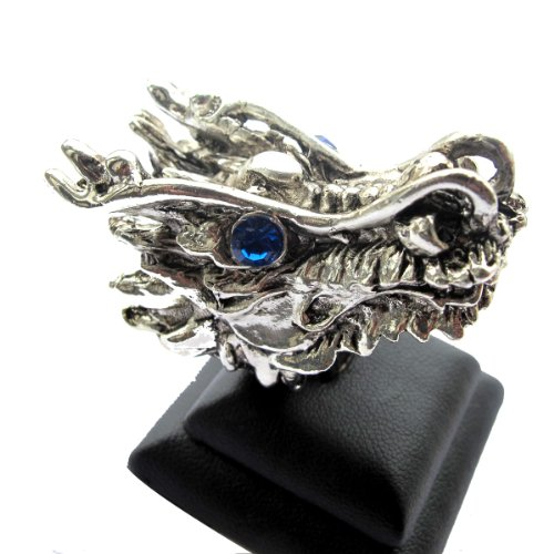 Dragon Head Silver Tone with Blue Synthetic Stone Eyes Ring / Size 10 or T