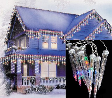 Set Of 8 Led Multi-Color Dripping Icicle Shape Christmas Lights - White Wire