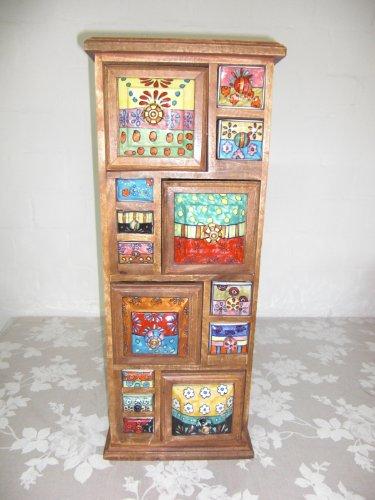 Keramikkommode, Holzkommode mit Keramikschüben, Apothekerschrank mit 14 Schüben