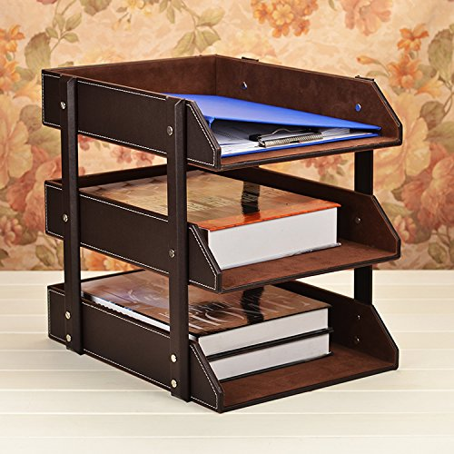 Figella Leather Office File Rack Document Filing Tray Case Wooden Desktop Desk Organizer Book Holder (3 Tiers trays-brown) (coffee) (Wooden Document Tray compare prices)
