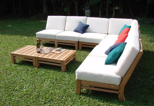 Ramled Grade-A Teak Wood Luxurious 7pc Sectional Sofa Set - 2 Love Seats, 2 Lounge Chair, 1 Corner Piece, 1 Ottoman & 1 Side Table - Furniture only #TSSSRM4