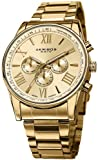 Akribos XXIV Mens AK736YG Ultimate Swiss Multifunction Gold-tone Stainless Steel Bracelet Watch