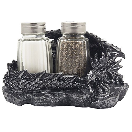 Mythical Sleeping Dragon Glass Salt and Pepper Shaker Set with Decorative Holder Display Stand