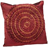 Shahenaz Home Shop Tusti Circle Flare Poly Dupion Cushion Cover - Red and Brown