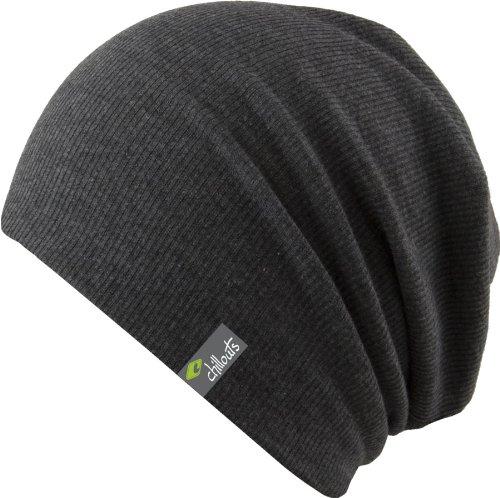 leichte Long Beanie oversize Mütze Aspen - Damen Herren Mütze unisex, 2014, Slouch (dark grey melange)
