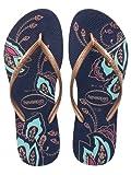 Havaianas Women's Slim Thematic Flip Flop,Navy Blue,41/42 BR/11-12 M US