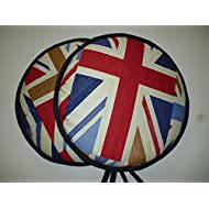 Pair of Vintage Union Jack 'Blighty' Range Cooker Hob Lid Covers Hob Top Pads