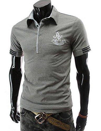 ZY/Morgan Uomo Casual Colletto Polo a maniche corte maglietta, l-navy blue