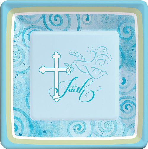 Creative Converting Faithful Dove Cross Square Dinner Plates, Blue, 8 Count