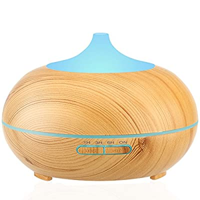 URPOWER Aromatherapy Essential Oil Diffuser 300ml Wood Grain Ultrasonic Cool Mist Whisper-Quiet Humidifier with Color LED Lights Changing & 4 Timer Settings, Waterless Auto Shut-Off for Spa Baby Home