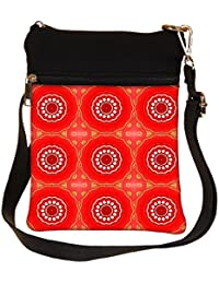 Snoogg Abstract Red Circles Pattern Cross Body Tote Bag / Shoulder Sling Carry Bag