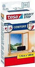 tesa Fliegengitter für Fenster, beste tesa Qualität, anthrazit, durchsichtig, 1,7m x 1,8m