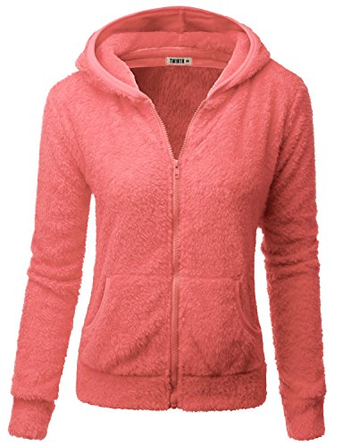 Doublju Womens Soft Fabric Poly 3/4 Sleeve Plus Size Hooded Jacket CORAL,3XL