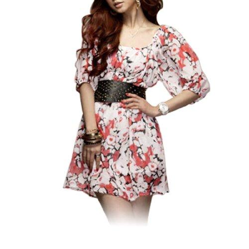 Allegra K Ladies Scoop Neck Chiffon Flower Half Sleeves Dress XS