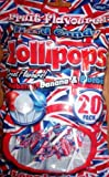#9: Union Jack Fruit Flavoured Hard Candy Lollipops - 20 Pack Strawberry Banana & Blueberry