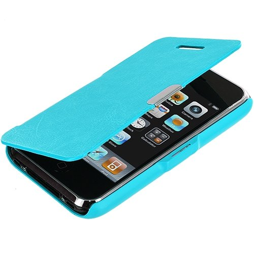Cell Accessories For Less (Tm) Baby Blue Texture Magnetic Wallet Case Cover Pouch For Apple Iphone 3G / 3Gs - By Thetargetbuys front-905337