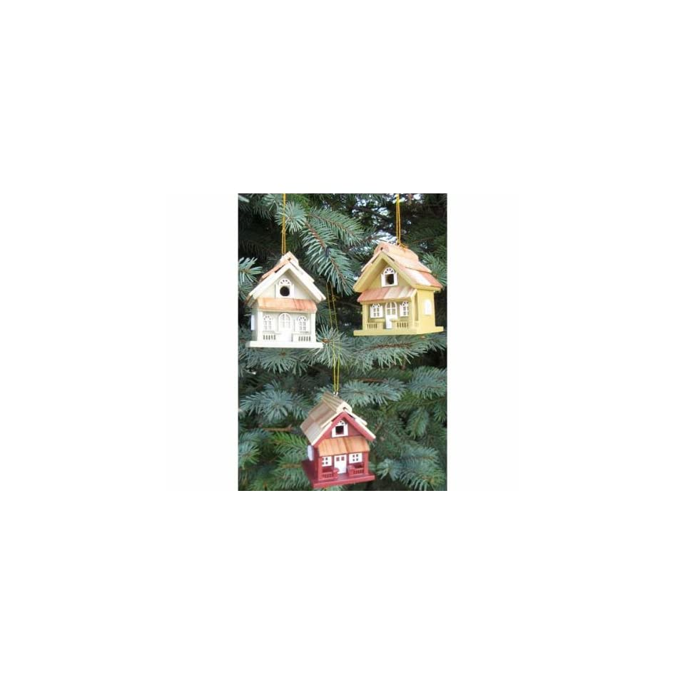 Cottage Birdhouse Ornament Set (Gold Red Green) (Ornaments) (Christmas