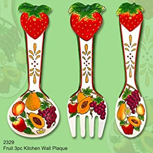 Amazon.com: WALL DECOR FRUIT 3 PC KITCHEN WALL PLAQUE: Kitchen ...