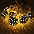 Goodia Silver Moroccan Orb LED Fairy Lights Battery Operated with 10 Warm White Leds