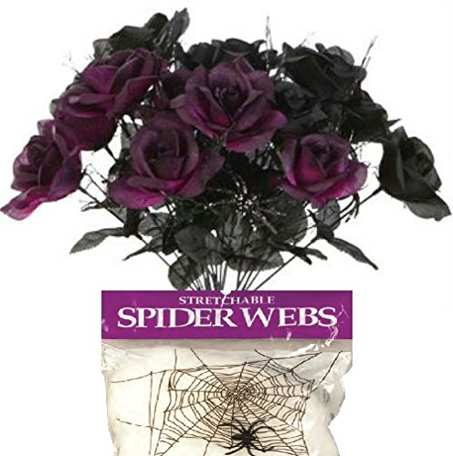 Bundle: 3 Items – 6-Stem 14″ Artificial Black & Purple Rose Bouquets for Haunted Houses or Halloween Parties and FREE Pack of Spider Web