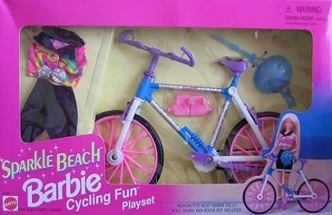 Barbie Sparkle Beach Cycling Fun Playset w Biking Outfit & MORE! (1995 Arcotoys, Mattel) by Arcotoys, Mattel