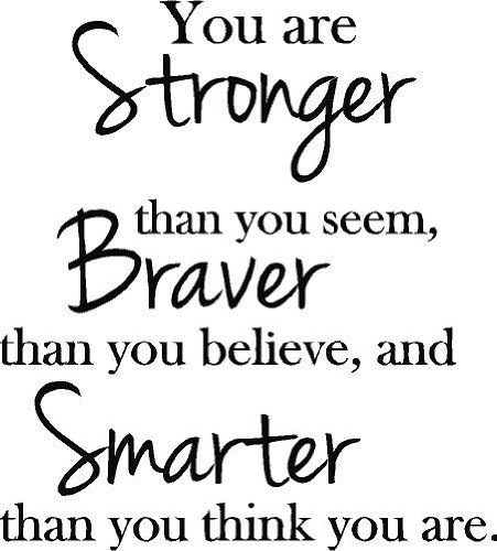 You Are Stronger Than You Seem, Braver Than You Believe, And Smarter Than You Think Vinyl Wall Decals Quotes Sayings Words Art Decor Lettering Vinyl Wall Art front-723179