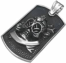 Urban Male Men's Aged Look Stainless Steel Skull Dog Tag Pendant
