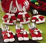 insieme di 6 Babbo Natale vestito di tasche porta posate