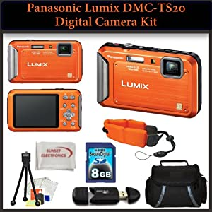 Panasonic Lumix DMC-TS20 Waterproof Digital Camera (Orange) Kit. Includes: 8GB SDHC Memory Card, Memory Card Reader, Floating Wrist Strap, Table Top Tripod, LCD Screen Protectors, SSE Microfiber Cleaning Cloth & Large Carrying Case