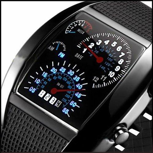 New Car Meter Blue LED Light Flash Calendar Men's Sport Racer Cool Wrist Watch