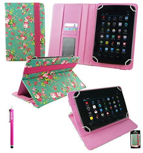 Emartbuy® i-Joy Nova 7 Pollice Quad Core Tablet Universale Serie Verde Rose Giardino PU Pelle Angolo Multi Esecutivo Wallet Portafoglio Custodia Case Cover con Scomparti per Carte di Credito + Hot Rosa Stilo