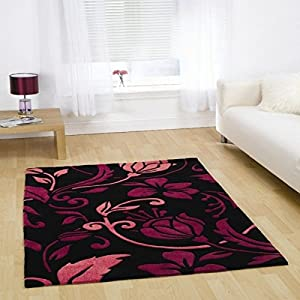 Rugs With Flair Infinite Damask Black/pink 60x110 Oblong by Rugs With Flair