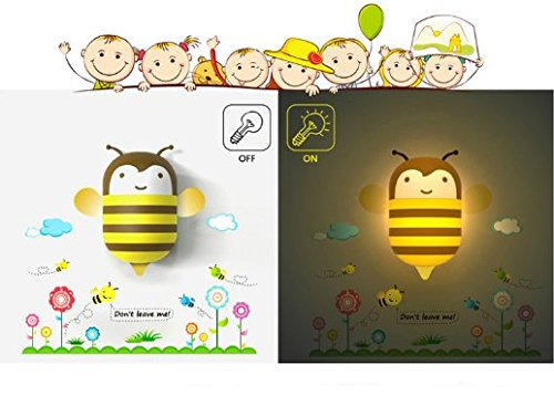 DreamHank 3D Mini Cartoon Wall Stickers Lamp LED Wallpaper Nightlight DIY Plug-in Night Lamp for Home Decoration, Bedroom, Living Room, Children's room (Cute Honey Bee)