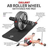 """Gallant Premium Ab Wheel Roller Dual Exercise Rollout Wheeler Abs Abdominal Trainer Fitness Home Gym Full Body Workout Ladies Mens Toning Top Quality Roller With Thick Knee Pad """"2 Year Warranty"""" Reduced Price For Limited Time Only"""