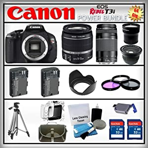 Canon EOS Rebel T3i 18MP - Canon EF-S 18-55mm IS II - Canon EF 75-300mm f/4-5.6 III - Wide Angle and 2x Telephoto Zoom Lens - 2x 32GB Memory Card - Card Reader - 2 Batteries - Tulip Lens Hood - 3 Piece Lens Filter Kit - Carrying Case - Screen Protector - Lens Cleaning Kit - Full Size Tripod
