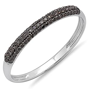 0.20 Carat (ctw) 10k White Gold Round Black Diamond Ladies Bridal Anniversary Wedding Band Stackable Ring 1/5 CT (Size 7.5)