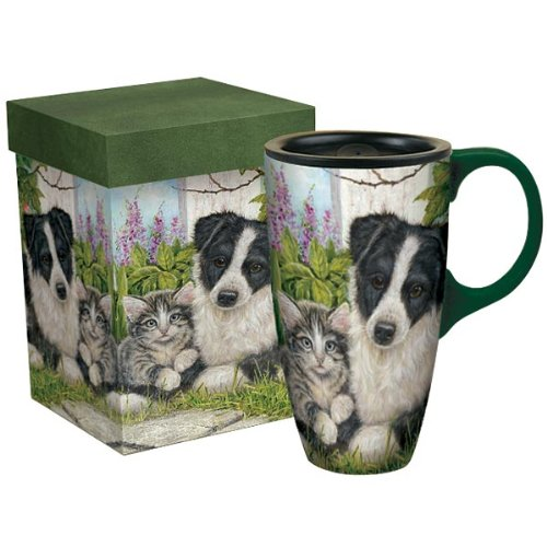 """Jack and Jill"" Large LATTE MUG by LANG, Cat & Dog Artwork by Shirley Deaville"
