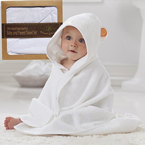 Organic Hypoallergenic Bamboo Hooded Towel & 2 Washcloth Family Gift Set for Baby