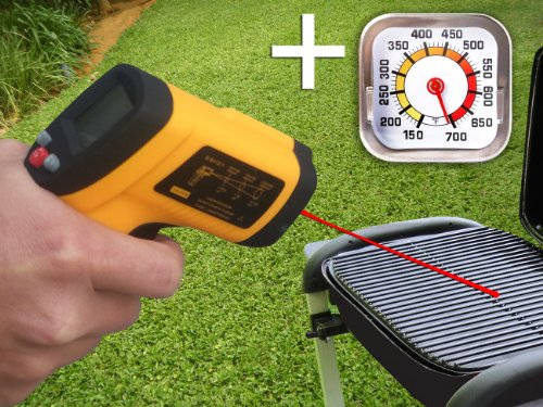 Grill Infrared (IR) Thermometer with Laser. -58 to 1022°f Non-contact Temperature Gun. Including a Regular Surface Thermometer
