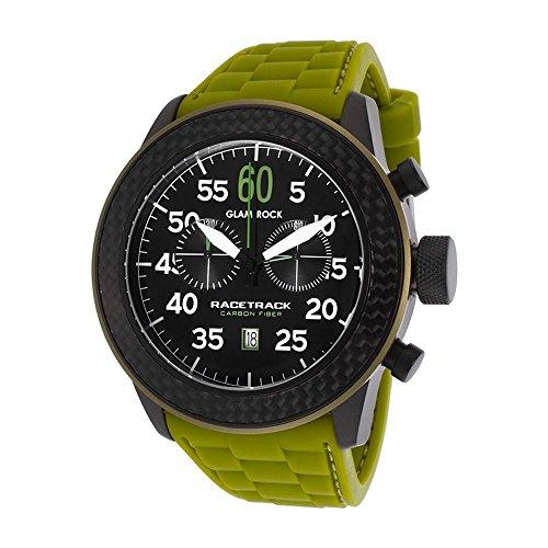 Glam Rock Racetrack Reloj de hombre cuarzo suizo 49mm cronógrafo correa de silicona color verde GRT29101F